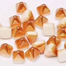 Bulk Bag 6mm Twin Hole Pyramid Beads, Alabaster Apricot Medium, Pack of 100